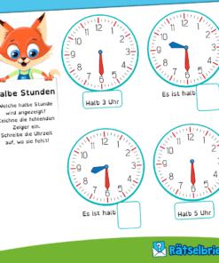Uhr lernen: das Übungsheft